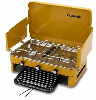 Gasmate 2 burner camping stove with griller and 4kg gas bottle + oz trail table