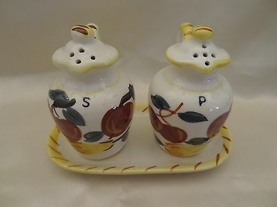 Wonderful Vintage Hand Painted Salt & Pepper Shakers With Base Fruit Jugs