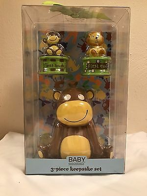Baby Essentials Monkey Keepsake Set 3 Piece Bank Tooth Curl Holder