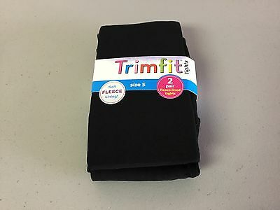 NWT Girl's Trimfit Fleece Lined Tights Size Small (4-6) Black/Black 2 Pair #98R