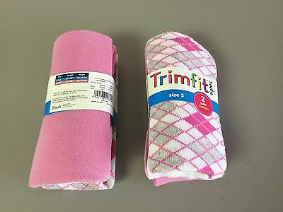 NWT Girl's Trimfit Fashion Tights Size Small 4-6 Pink/White Multi 2 Pair #102R