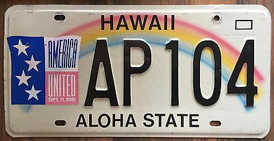 Hawaii 911 Remembrance Rainbow Aloha State Authentic License Plate #AP104 fr