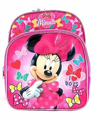 "Disney* Minnie Mouse Girls 10"" Small Canvas Red & Pink School Backpack-2227"