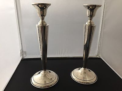 Set of 2 Large Column Weighted Sterling Silver Candle Holders 402