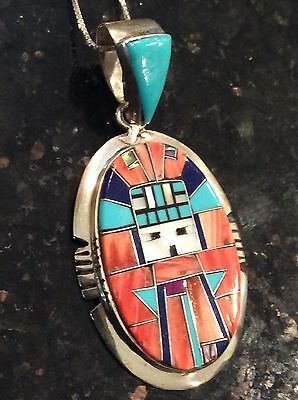 Native American Turquoise, Spiny Oyster & Kachina Pendant/Necklace