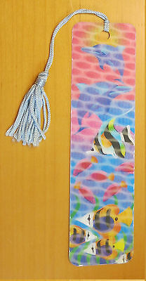 #B2 BOOK VINTAGE NEW Dolphin & Tropical Fish Bookmark with Tassel Holographic