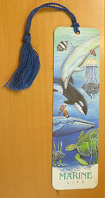 #B2 VINTAGE NEW Marine Life Bookmark with Tassel Dolphin Killer Whale Turtle