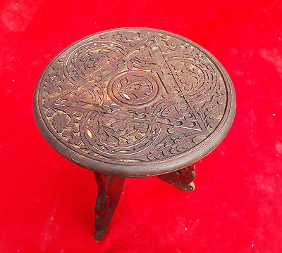 Antique Beautiful Hand Carved Wooden Small Side Folding Table