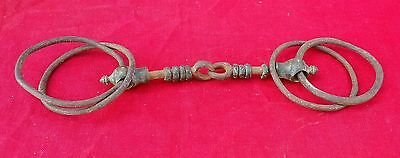 1850's ANTIQUE VERY RARE UNIQUE HAND FORGED IRON STRUCTURE BRASS HORSE BIT TRACK