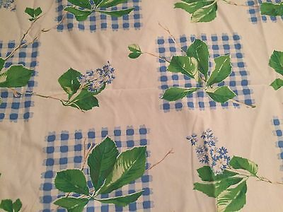 Vintage Blue & Green Tablecloth * 52 x 44