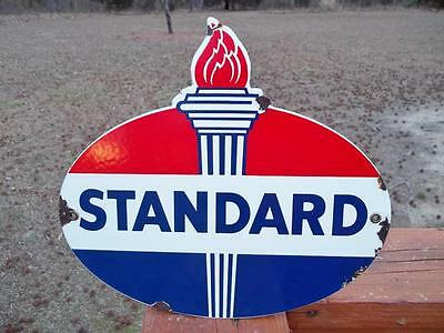 Porcelain Standard Oil Sign Gas Station Store Display Sign Advertising Piece