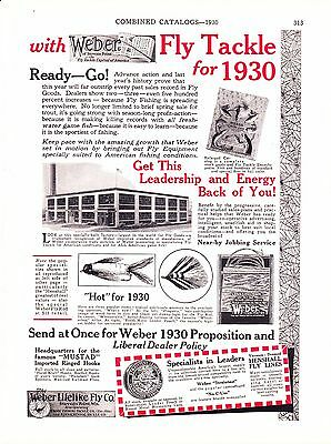 1930 Sporting Goods Journal Ad ~ Weber Fly Fishing ~ Dickey Kamper Tents