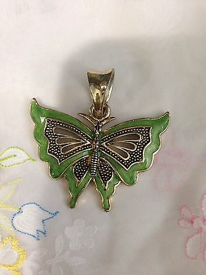 Antique Vintege Chinese Light Green Enamel Big Butterfly Silver Pendent