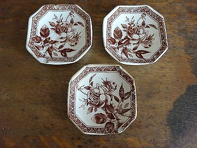 Aesthetic Era Wallis Gimson Ironstone Brown Transfer Garfield 1884 Butter Pats