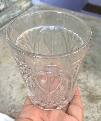1930's VINTAGE RARE BEAUTIFUL CLEAR GLASS HEAVY CARNIVAL TUMBLER, JAPAN