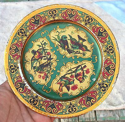 Vintage Rare Beautiful Birds Print Green Shaded Litho Tin Wall Decorative  Plate