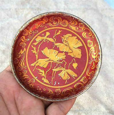 Vintage Beautiful Flowers Red Shaded Litho Tin Wall Hanging Plate- Top Condition