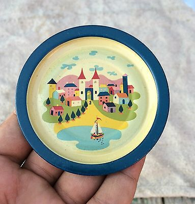 Vintage Beautiful Castle City View Printed Tin Wall Decorative  Plate
