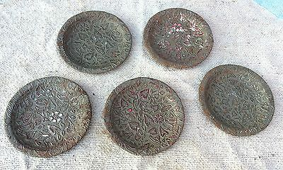 1940's VINTAGE BEAUTIFUL LEAVES & FLOWERS EMBOSSED 5pc WALL DECORATIVE TIN PLATE