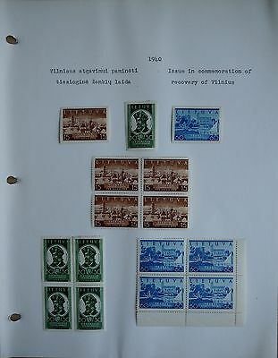 Lithuania 1940  Issue in commemoration of Recovery Vilnius Post Stamps set