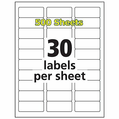 1 x 2 5/8 15000 Address Shipping Labels Laser Compatible Word 5160 30 Per Sheet