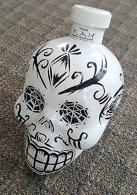 Collectible KAH Blanco Tequila Hand-painted Skull Empty Bottle 750 mL Halloween