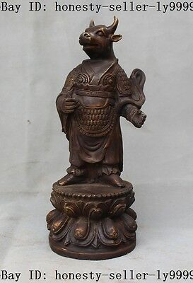 """9"""" old chinese myth bronze stand Ox bull oxen cattle god people Maxpower statue"""
