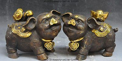 "8""chinese bronze fengshui Auspicious wealth animal ruyi yuanbao Pig Swine statue"