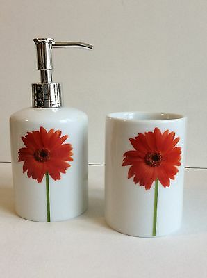 New Two Piece Bathroom Set Soap Dispenser And Toothbrush Holder