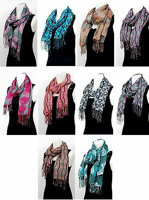 Ladies Fashion Long Scarf with Fringes - Roses and Leaves