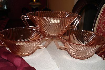 Diana Pink Depression Glass Three Cream Soup Bowls...nice!....wow!....mint!
