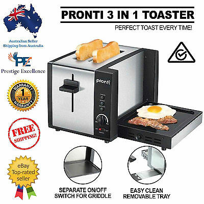 New Pronti 3 in 1 Toaster Griddle Hot Plate Electric 2 Slices Grill RCM APPROVED