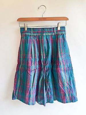 Vintage 1980s Plaid Shorts Turquoise Purple Pink Pleated Cotton High Waist