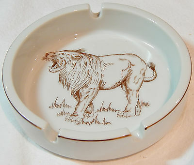 Lion White Ashtray Brown Print Drawing Wild Habitat Designed by Shafford