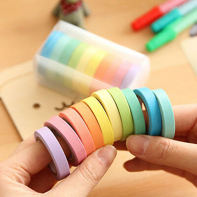 10x Writable Rolls Paper Washi Masking Tape Rainbow Colours Sticky Adhesive