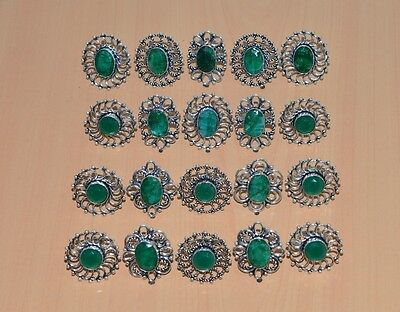 Wholesale 20Pc 925 Silver Plated Faceted Green Emerald Blg Ring Jewelry Lot