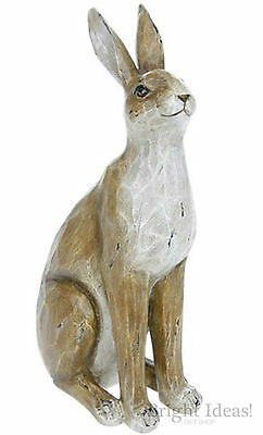 Wildlife - COUNTRY BROWN WOOD EFFECT SMALL FIGURINE - Hare