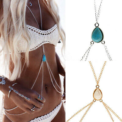Turquoise Beads Bikini Crossover Slave Harness Necklace Silver Belly Body Chain