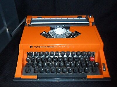 Olympiette Special Typewriter  - Retro Orange Colour - With Case- Good Condition