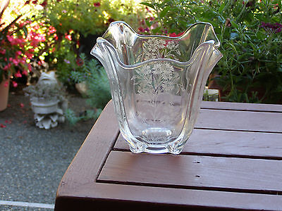 Fostoria Etched Flower Vase 6 inches Tall