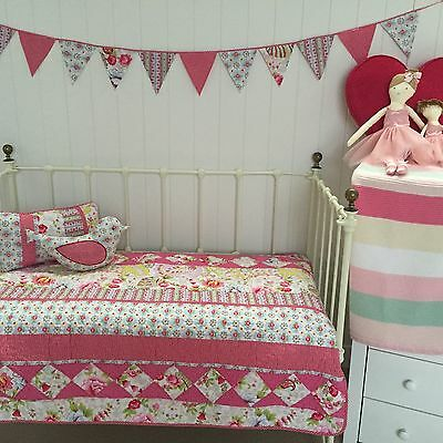 Stella 4 pce Girls Shabby Chic Cot Quilt / Cushions  Baby Nursery Crib Package