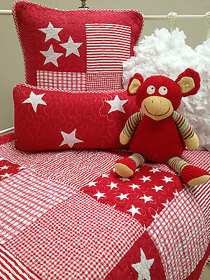 Cot Quilt & 2 Cushions Red Stars Lachlan Baby Nursery Bedding Linens N Things