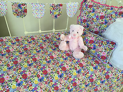5 pce Linens n Things Primrose Girls Baby Cot Quilt Floral Shabby Chic Nursery