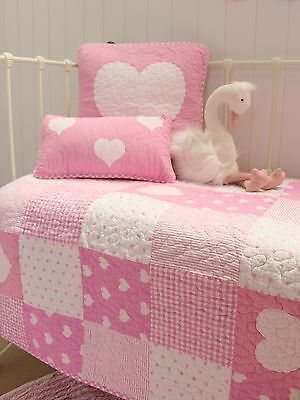 2 pce Lucy Cot Quilt & Cushion Pink Patchwork Cotton Baby Girls Nursery