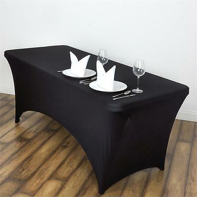 4Ft Rectangle Tablecloth Spandex Lycra Stretch Fitted Trestle Cover Black