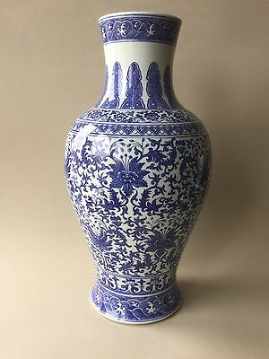 """Large Chinese Blue and White Vase with Floral Decoration - 17.5"""" High"""