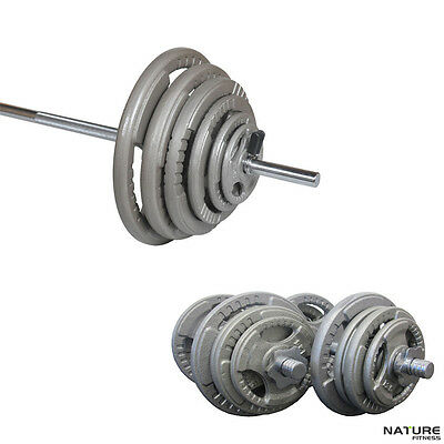 Nature Fitness 80kg Barbell & Weight Set Standard Hammertone Steel Plates Home