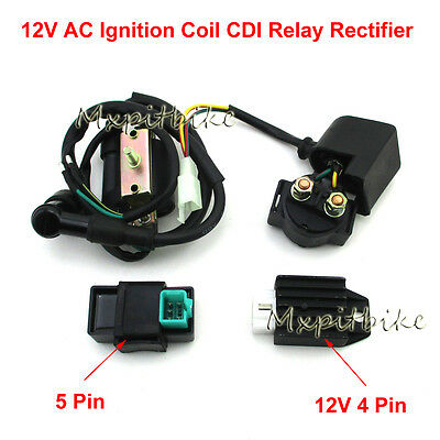 Ignition Coil Solenoid Relay Rectifier CDI For 50cc 70 90 110cc ATV Chinese Quad