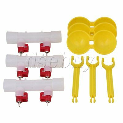 3Pcs Chicken Duck Ball Valve Water Feeder Dual Nipples Waterer Water-saving