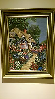 Tapestry Fine Wool Framed  Under Glass Of A Farmhouse